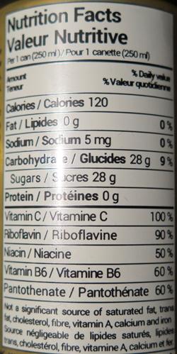 valeur nutritive, boisson énergétique 9 mm